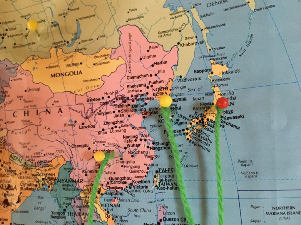 Tjäktja STF Hut 휴게실에 걸려있는 세계지도. 한국을 대표(?)해서 핀을 꽂았다.