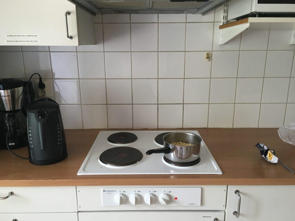 인덕션, 전기 포트가 있는 Kvikkjokk 의 주방