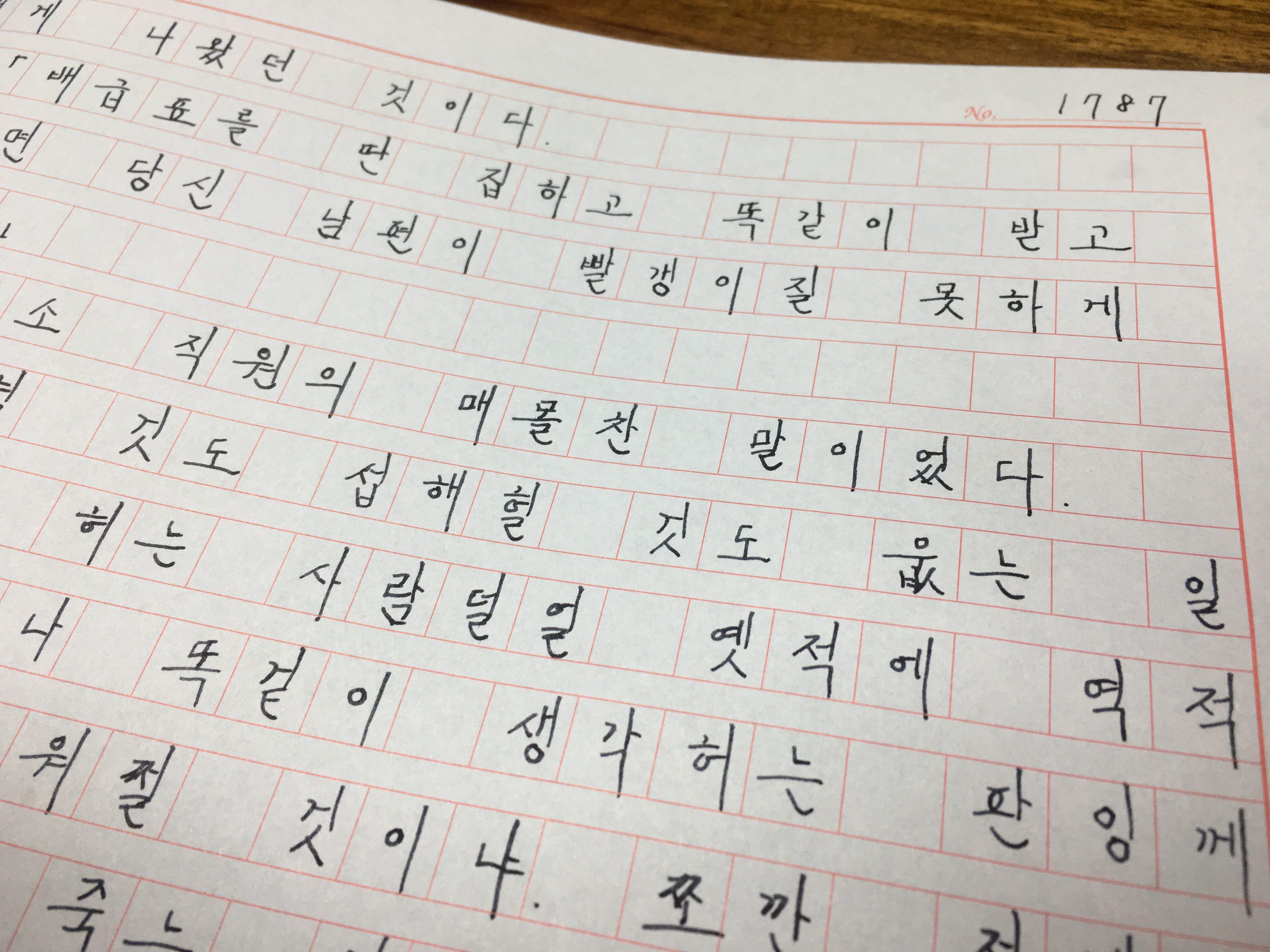 소설 태백산맥 원고지 필사